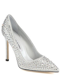Silver Embellished Sequin Pumps