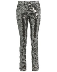 Saint Laurent Sequin Embellished Skinny Jeans