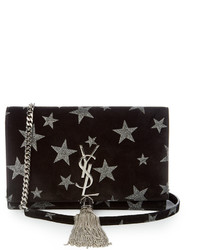 Saint Laurent Kate Small Star Embellished Suede Cross Body Bag
