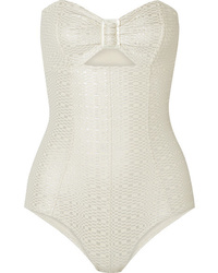Lisa Marie Fernandez Cutout Metallic Seersucker Swimsuit