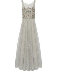 Silver Embellished Tulle Evening Dress
