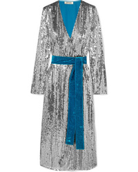 ATTICO Wrap Ed Sequined Crepe And Velvet Midi Dress