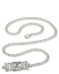 Asstd Private Brand Rhinestone Accented Skinny Chain Belt Nickel