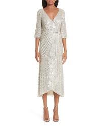 Rachel Gilbert Lovelle Embellished Midi Wrap Dress