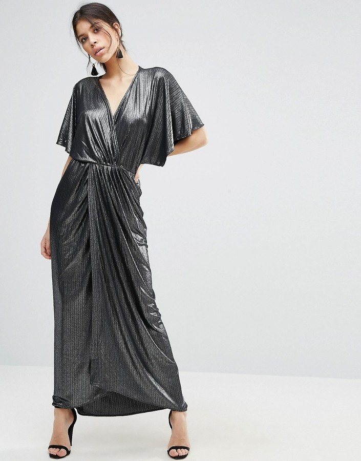 Asos ASOS Metallic Wrap Kimono Maxi Dress | Where to buy & how to wear