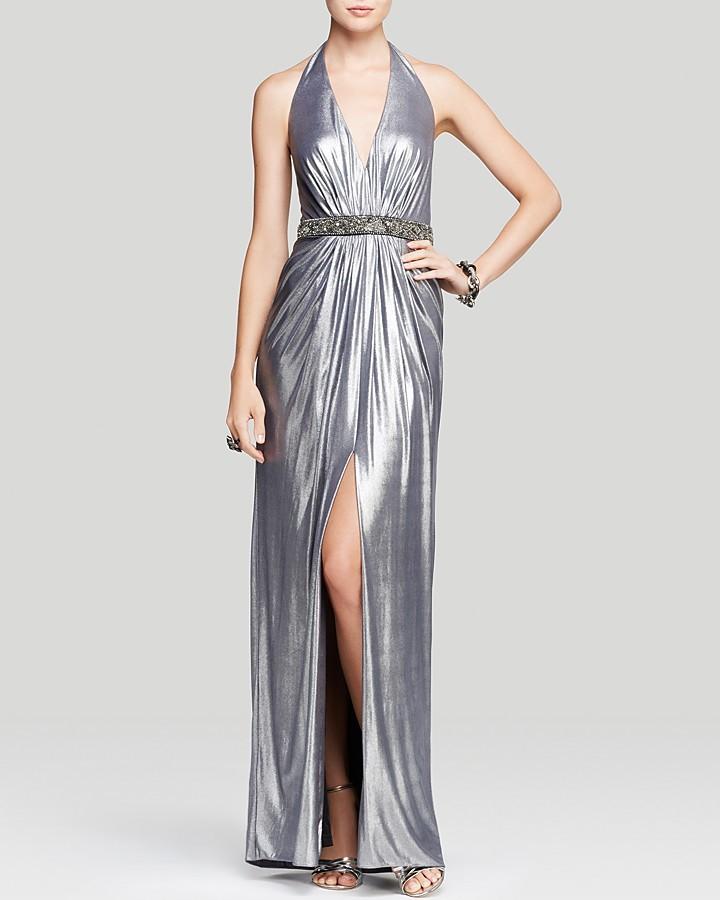 Aidan Mattox Gown Plunge V Neck Halter Neck Metallic Beaded Waist ...