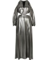 River Island Metallic Silver Cold Shoulder Maxi Dress