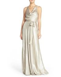 Nouvelle amsale liane liquid chiffon draped halter gown medium 838694