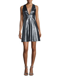 Silver Fit and Flare Dress
