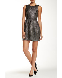 Loveady Sleeveless Metallic Foil Knit Flare Dress