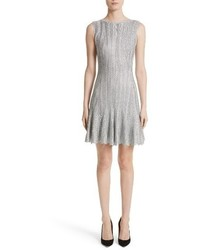 Alexander McQueen Metallic Knit Fit Flare Dress