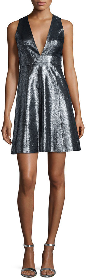 MICHAEL Michael Kors Michl Michl Kors Metallic Jacquard V Neck Fit Flare Dress