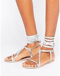 Boohoo Metallic Lace Up Flat Sandal