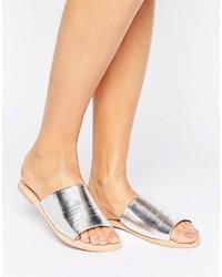 Boohoo Ruched Metallic Flat Sliders