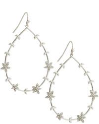 Lydell NYC Floral Teardrop Hoop Earrings Silver