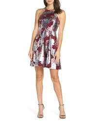 Sequin Hearts Foiled Floral Fit Flare Dress