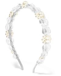 Simone Rocha Daisy Silver Tone Faux Pearl And Crystal Headband
