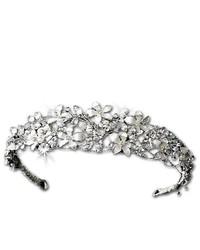 Melissa Kay Collection Silver Tone White Floral Rhinestone Crystal Bridal Wedding Tiara Headband
