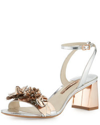 Silver Floral Leather Heeled Sandals