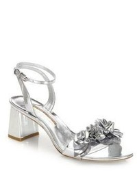 Sophia Webster Lilico Floral Embellished Metallic Leather Block Heel Sandals