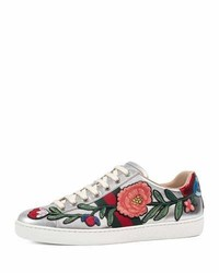 Gucci New Ace Floral Leather Sneaker Silver