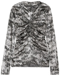 Isabel Marant Diego Ruched Floral Print Stretch Silk Blend Top Silver