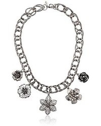 1928 Jewelry Trend Antique Silver Tone Floral Charm Strand Necklace 18
