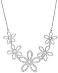 Giani Bernini Linked Flower Frontal Necklace In Sterling Silver