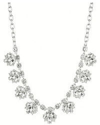 Nine West Silver Tone Crystal Floral Frontal Necklace