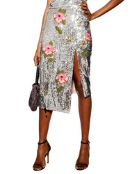 Topshop Flower Embellished Sequin Midi Skirt