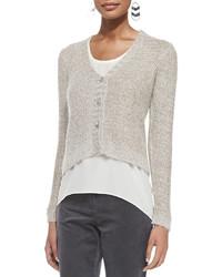 Eileen Fisher V Neck Metallic Sheen Short Cardigan Plus Size