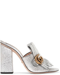 f9b5645a6b38 Gucci Marmont Fringed Logo Embellished Metallic Cracked Leather Mules Silver