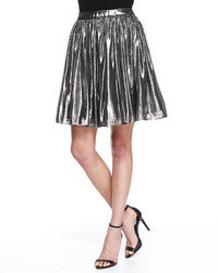 Lizzie metallic pleated full skirt silver medium 77979