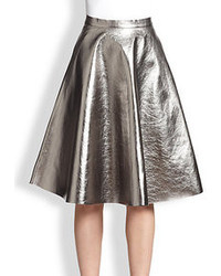 MSGM Metallic Faux Leather A Line Skirt
