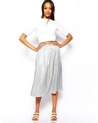 Warehouse Metallic Midi Skirt