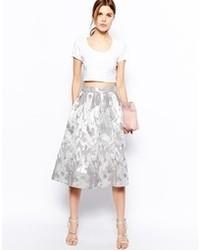 Asos Midi Skirt In Camo Jacquard Silver