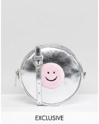 Lazy Oaf Silver Faux Fur Round Fuzzy Cross Body Bag