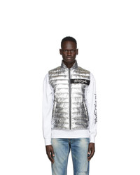 Palm Angels Silver Metallic Season Quilted Vest