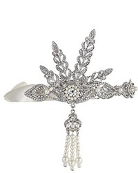 The Great Babeyond Bling Silver Tone Gatsby Inspired Art Deco Wedding Tiara Headpiece Headband