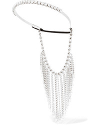 Miu Miu Fringed Silver Tone Crystal And Bead Headband