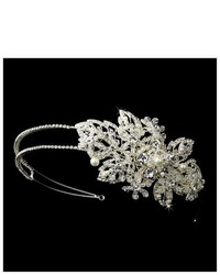 Melissa Kay Collection Silver Tone Ivory Simulated Pearl Crystal Floral Wedding Bridal Headband Tiara