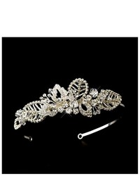 Melissa Kay Collection Silver Tone Rhinestone Beaded Leaf Floral Wedding Bridal Headband Tiara