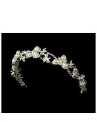 Melissa Kay Collection Silver Tone Rhinestone White Simulated Pearl Wedding Bridal Headband Tiara