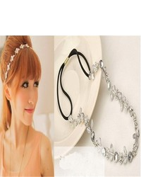 New Lady Hair Accessory Silver Metal Flower Rhinestone Leaf Headband Hair Band