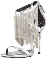 Brian Atwood B Condessa Fringe Sandal Silver