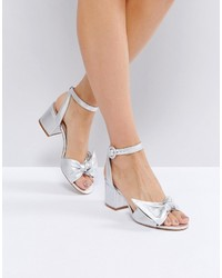 1529f13c838 Aldo Beautie Silver Mid Heeled Knot Front Sandals