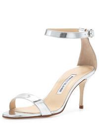 Manolo Blahnik Chaos Ankle Strap Sandal Silver