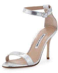 Manolo Blahnik Chaos Metallic Ankle Wrap Sandal Silver