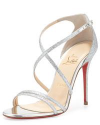 Christian Louboutin Gwynitta Glitter Open Toed Sandal Silver
