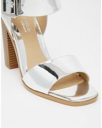 67516cca8cf ... Head Over Heels By Dune Ilana Silver Block Heeled Sandals ...